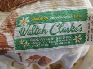 Waltah Clarke's Hawaiian Shops Label