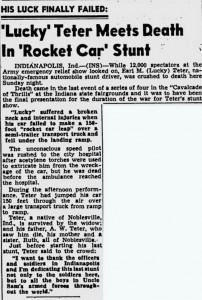 Article reporting Lucky Teter's death, St. Petersburg Times, July 7 1942