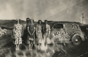 Thelma and friends at the Lucky Teter show, 1938